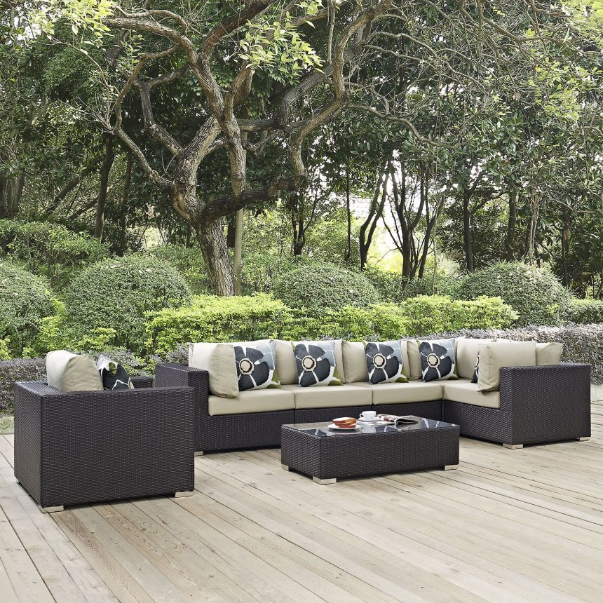 7 Piece Outdoor Patio Sectional Set in Espresso Beige EEI-2350