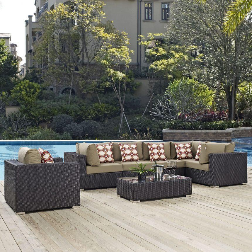 7 Piece Outdoor Patio Sectional Set in Espresso Mocha EEI-2350