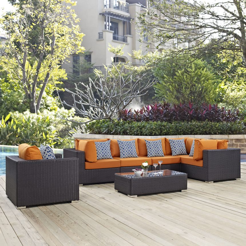 7 Piece Outdoor Patio Sectional Set in Espresso Orange EEI-2350