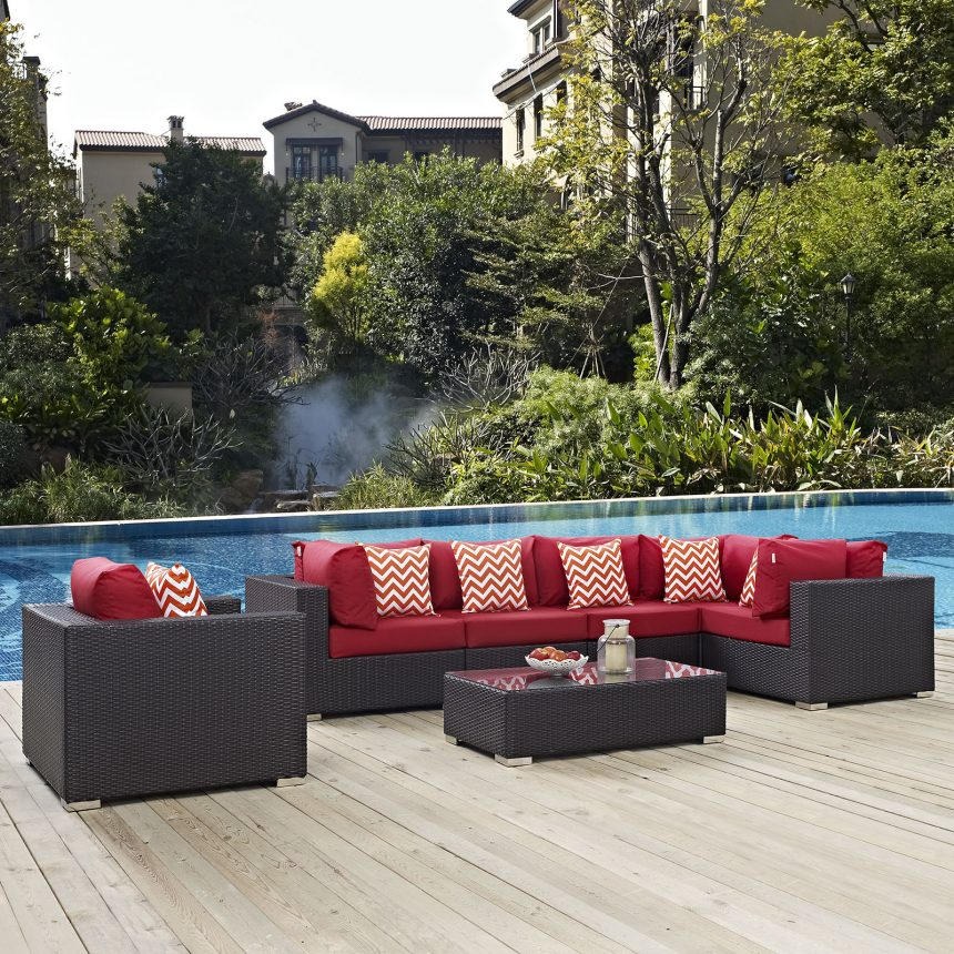 7 Piece Outdoor Patio Sectional Set in Espresso Red EEI-2350