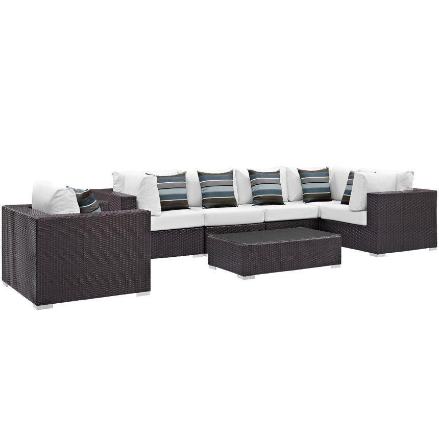 7 Piece Outdoor Patio Sectional Set in Espresso White