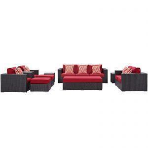 9 Piece Outdoor Patio Sofa Set in Espresso Red
