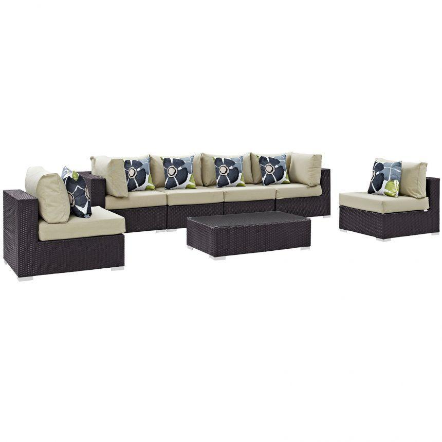 7 Piece Outdoor Patio Sectional Set in Espresso Beige