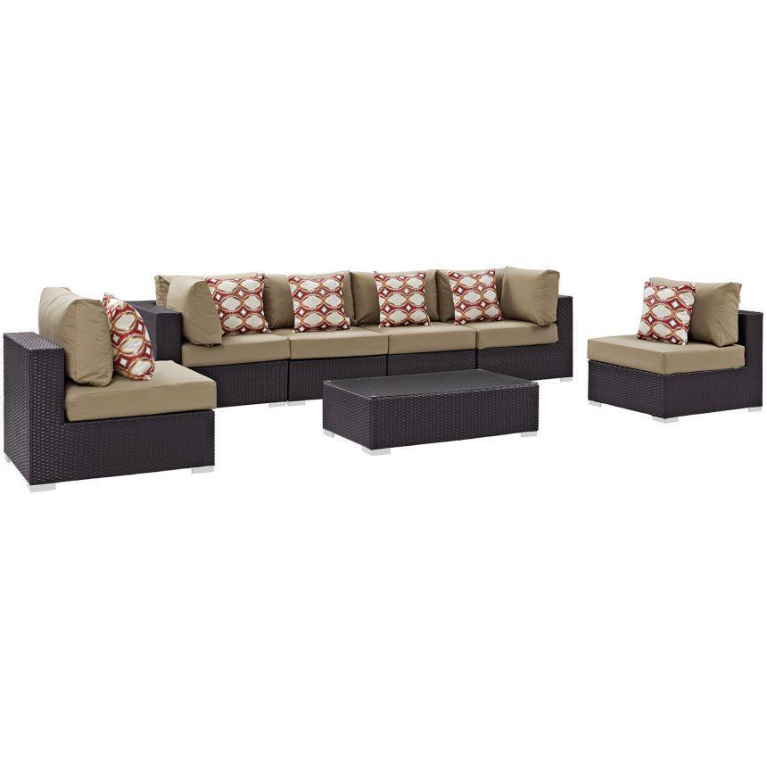 7 Piece Outdoor Patio Sectional Set in Espresso Mocha