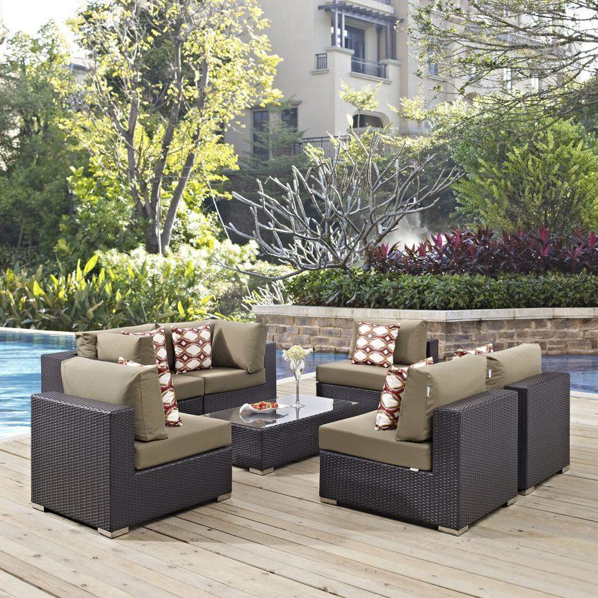 7 Piece Outdoor Patio Sectional Set in Espresso Mocha EEI-2357