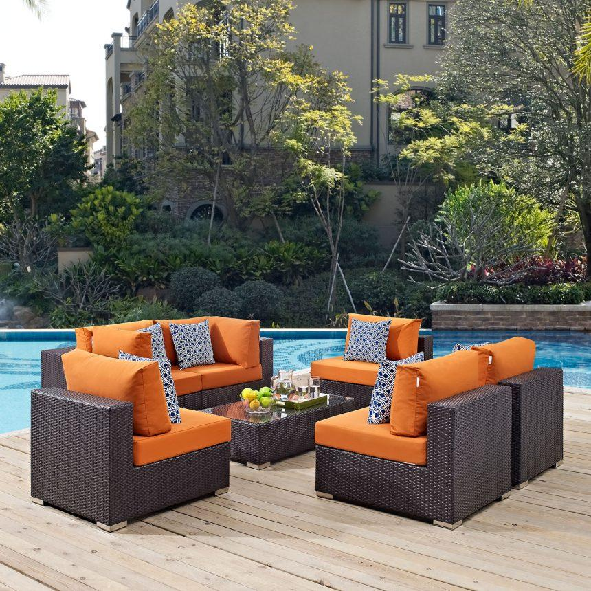 7 Piece Outdoor Patio Sectional Set in Espresso Orange EEI-2357