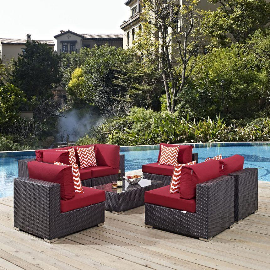 7 Piece Outdoor Patio Sectional Set in Espresso Red EEI-2357
