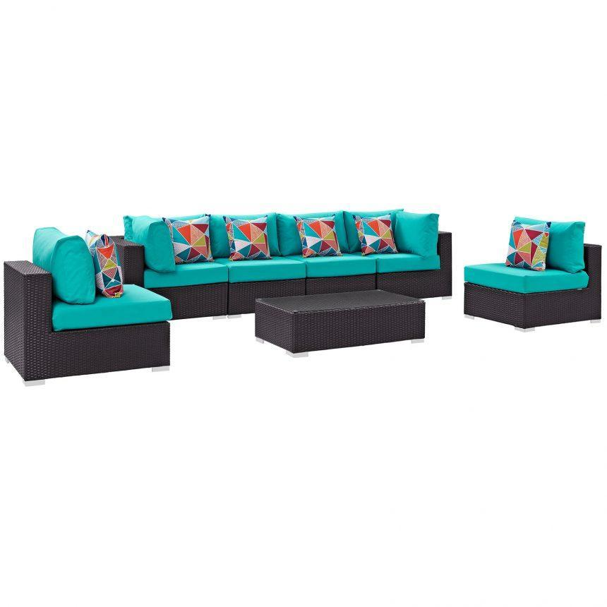 7 Piece Outdoor Patio Sectional Set in Espresso Turquoise