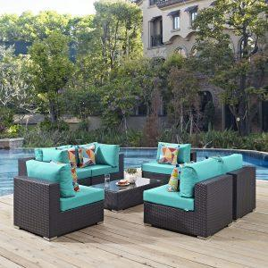 7 Piece Outdoor Patio Sectional Set in Espresso Turquoise EEI-2357