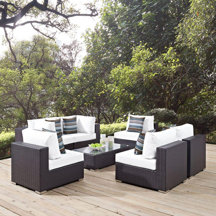 7 Piece Outdoor Patio Sectional Set in Espresso White EEI-2357