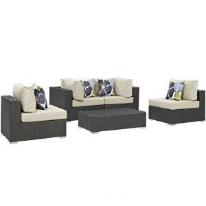 5 Piece Outdoor Patio Sunbrella® Sectional Set in Canvas Antique Beige
