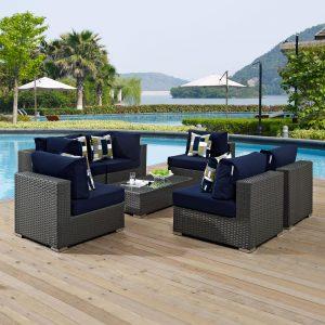 7 Piece Outdoor Patio Sunbrella® Sectional Set in Canvas Navy Cushions EEI-2379