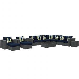 11 Piece Outdoor Patio Sunbrella® Sectional Set in Canvas Navy EEI-2381
