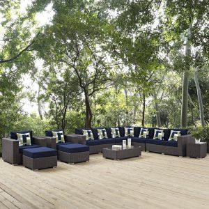 11 Piece Outdoor Patio Sunbrella® Sectional Set in Canvas Navy Cushions EEI-2381