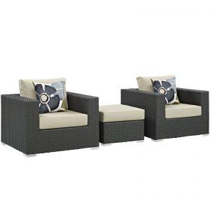 3 Piece Outdoor Patio Sunbrella® Sectional Set in Canvas Antique Beige