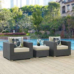 3 Piece Outdoor Patio Sunbrella® Sectional Set in Canvas Antique Beige EEI-2386