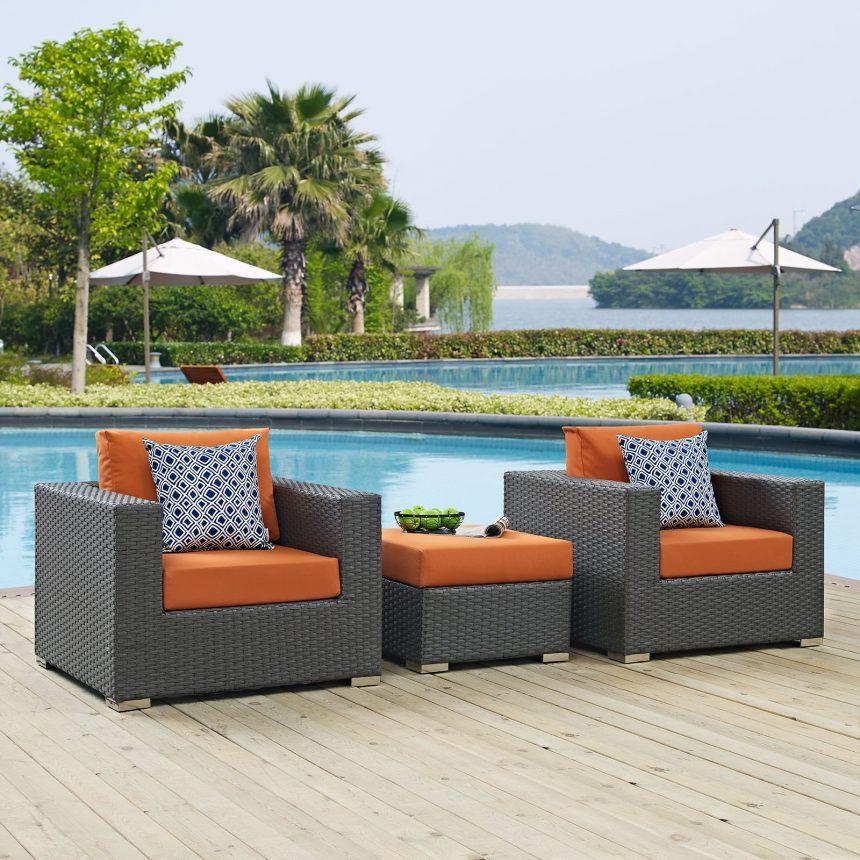3 Piece Outdoor Patio Sunbrella® Sectional Set in Canvas Tuscan