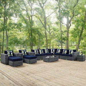 11 Piece Outdoor Patio Sunbrella® Sectional Set in Canvas Navy Cushions EEI-2394