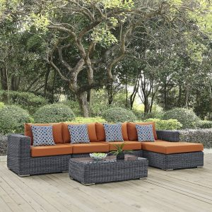 5 Piece Outdoor Patio Sunbrella® Sectional Set in Canvas Tuscan Cushions EEI-2395