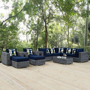 10 Piece Outdoor Patio Sunbrella® Sectional Set in Canvas Navy Cushions EEI-2396