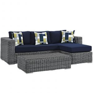 3 Piece Outdoor Patio Sunbrella® Sectional Set in Canvas Navy EEI-2397