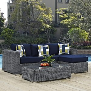 3 Piece Outdoor Patio Sunbrella® Sectional Set in Canvas Navy Cushions EEI-2397