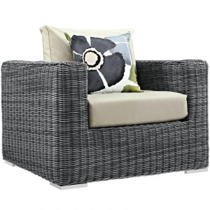 7 Piece Outdoor Patio Sunbrella® Sectional Set Armchair in Gray Beige EEI-2400