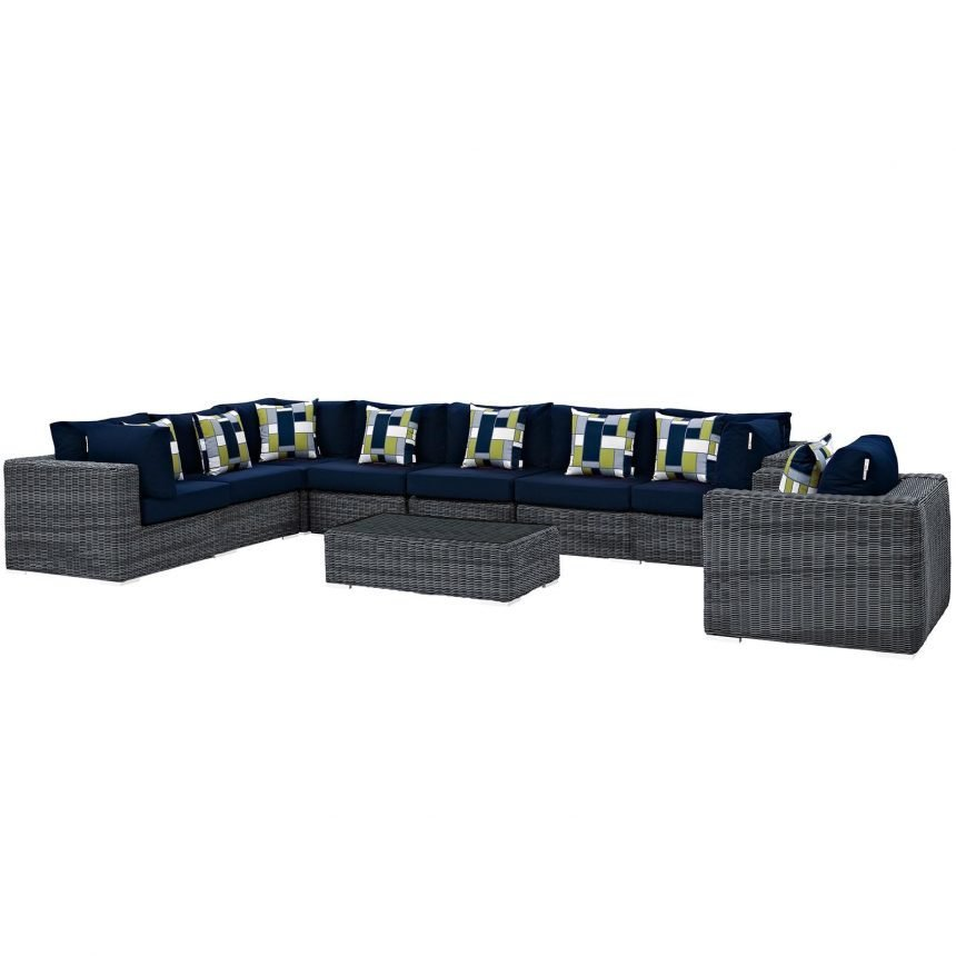7 Piece Outdoor Patio Sunbrella® Sectional Set in Gray Navy EEI-2400