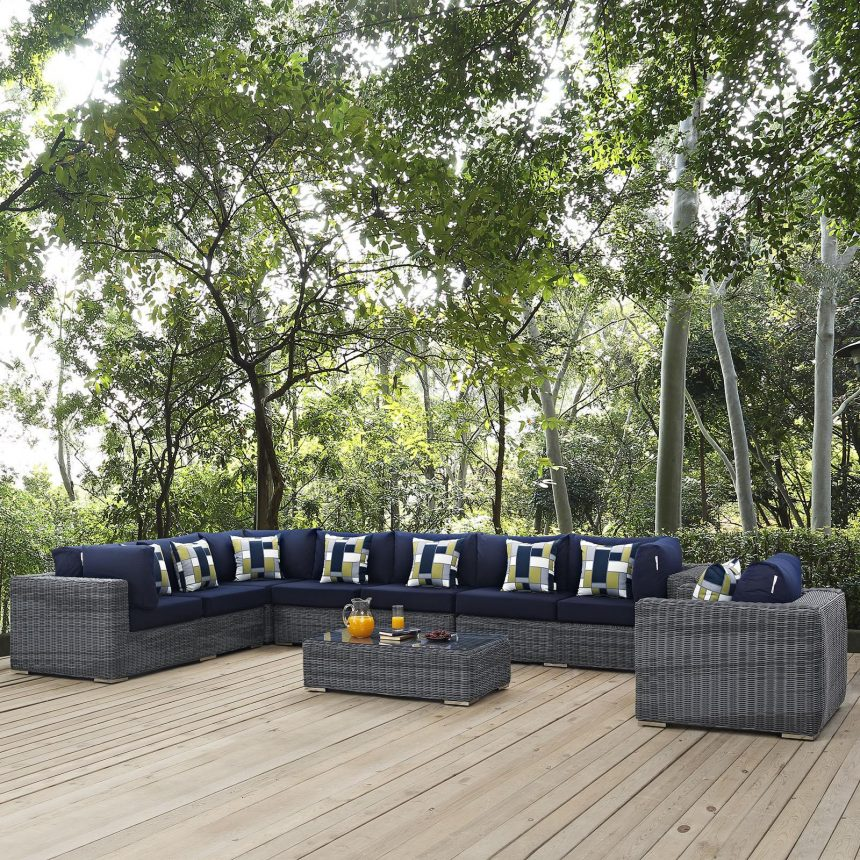 7 Piece Outdoor Patio Sunbrella® Sectional Set with Gray Navy Cushions EEI-2400
