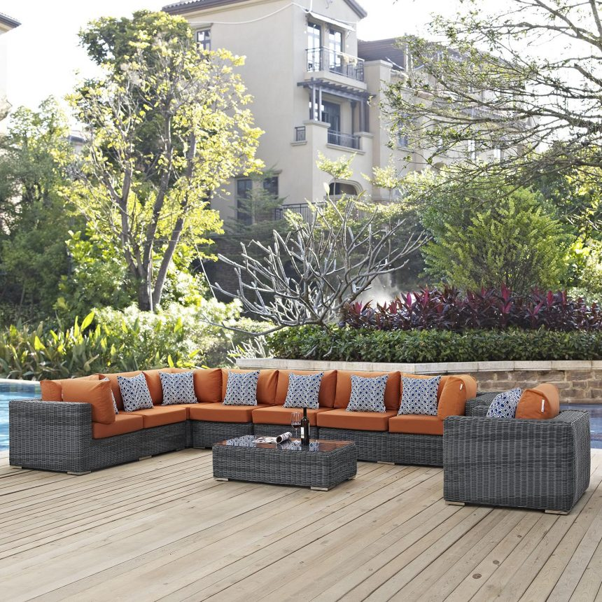 7 Piece Outdoor Patio Sunbrella® Sectional Set with Gray Tuscan Cushions EEI-2400