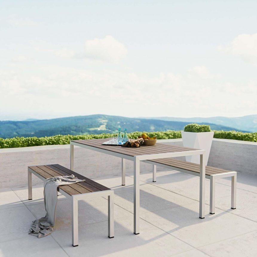 3 Piece Outdoor Patio Aluminum Dining Set in Silver Gray EEI-2480