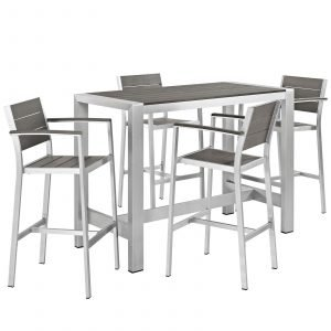 5 Piece Outdoor Patio Aluminum Dining Set in Silver Gray EEI-2588