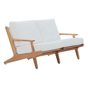 Saratoga Outdoor Patio Teak Loveseat in Natural White EEI-2932