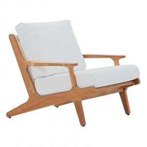 Outdoor Patio Teak Armchair in Natural White EEI-2933