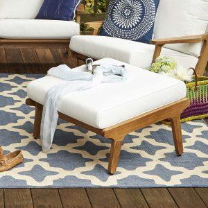 Saratoga Outdoor Patio Teak Ottoman in Natural White EEI-2936