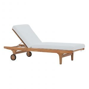Outdoor Patio Teak Chaise Lounge in Natural White EEI-2937