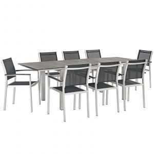 9 Piece Outdoor Patio Aluminum Outdoor Dining Set in Silver Black EEI-3202