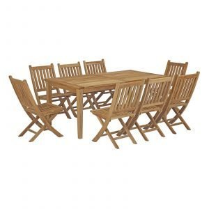 9 Piece Outdoor Patio Teak Outdoor Dining Set EEI-3204