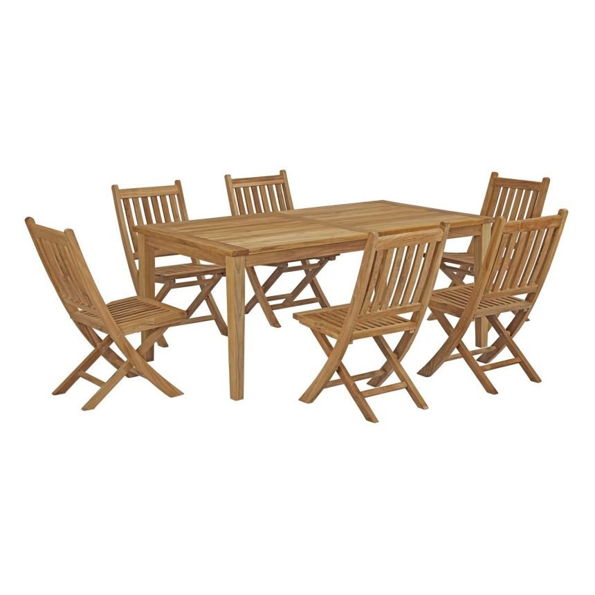 7 Piece Outdoor Patio Teak Outdoor Dining Set EEI-3205