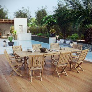 9 Piece Outdoor Patio Teak Outdoor Dining Set in Natural EEI-3281