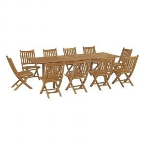 11 Piece Outdoor Patio Teak Outdoor Dining Set in Natural EEI-3284