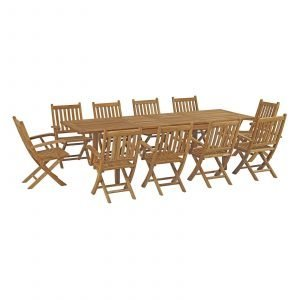 11 Piece Outdoor Patio Teak Dining Set with Armchairs EEI-3285