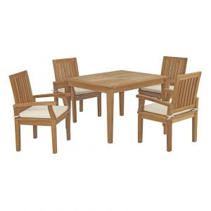 5 Piece Outdoor Patio Teak Outdoor Dining Set EEI-3286