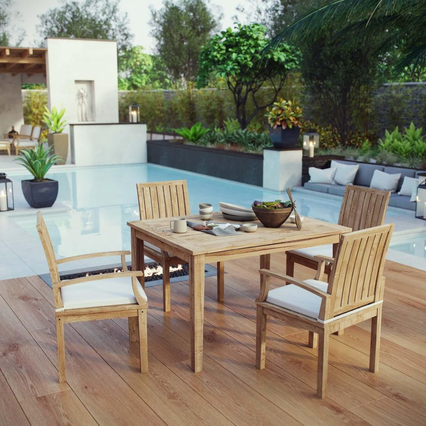 5 Piece Outdoor Patio Teak Dining Set EEI-3286