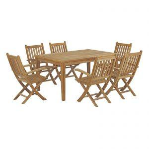 7 Piece Outdoor Patio Teak Outdoor Dining Set in Natural