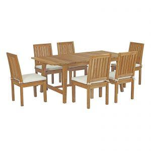 7 Piece Outdoor Patio Teak Outdoor Dining Set in Natural White