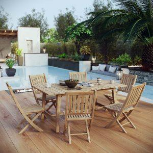 7 Piece Outdoor Patio Teak Outdoor Dining Set in Natural EEI-3298