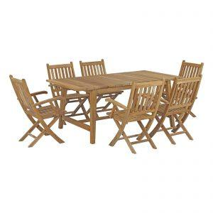 7 Piece Outdoor Patio Teak Outdoor Dining Set in Natural EEI-3299