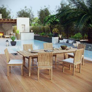 7 Piece Outdoor Patio Teak Outdoor Dining Set in Natural White EEI-3307