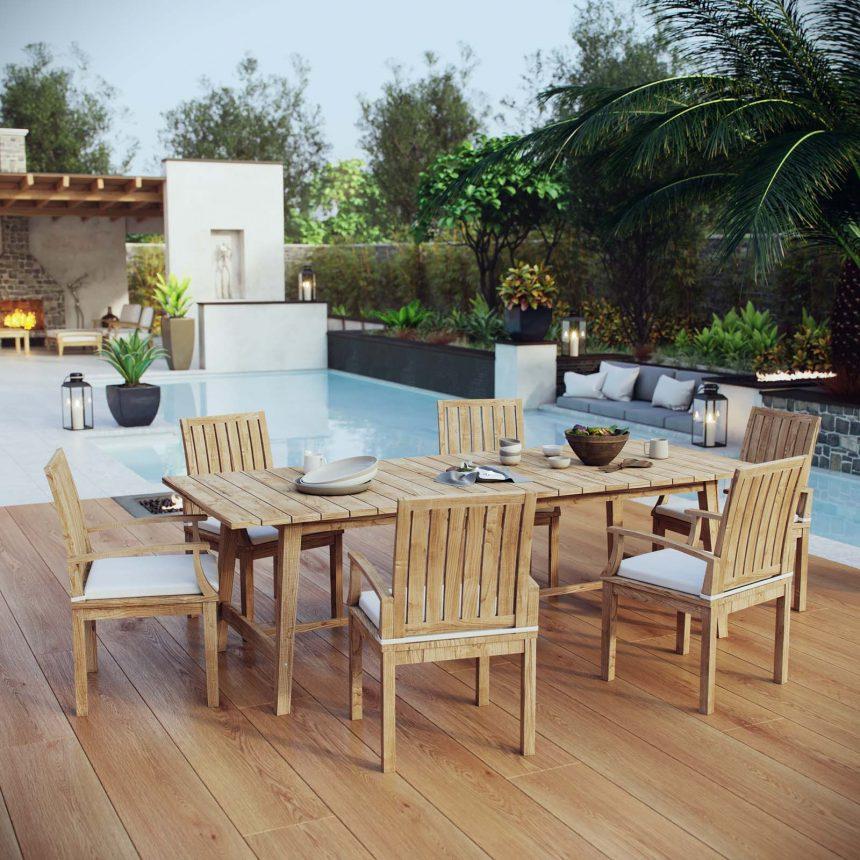 7 Piece Outdoor Patio Teak Outdoor Dining Set in Natural White EEI-3308